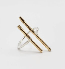 Peter James Jewelry Ring Sterling Silver with Gold Fill Bars