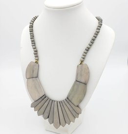 Mata Traders Bombay Bib Bone Necklace Grey