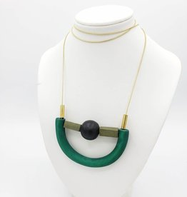 Sylca Designs Jaelyn Necklace, Green Crescent Wood U-Shape