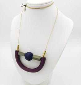 Sylca Designs Jaelyn Necklace, Purple Crescent Wood U-Shape