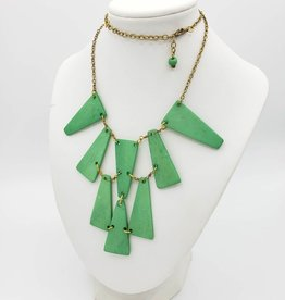 Mata Traders Trapeze Statement Necklace, Green-Dyed Wood - Mata Traders