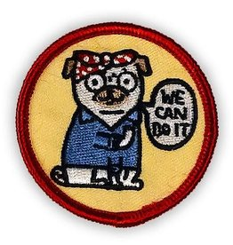 """Pugsie the Riveter"" Iron On Patch - by Gemma Correll"