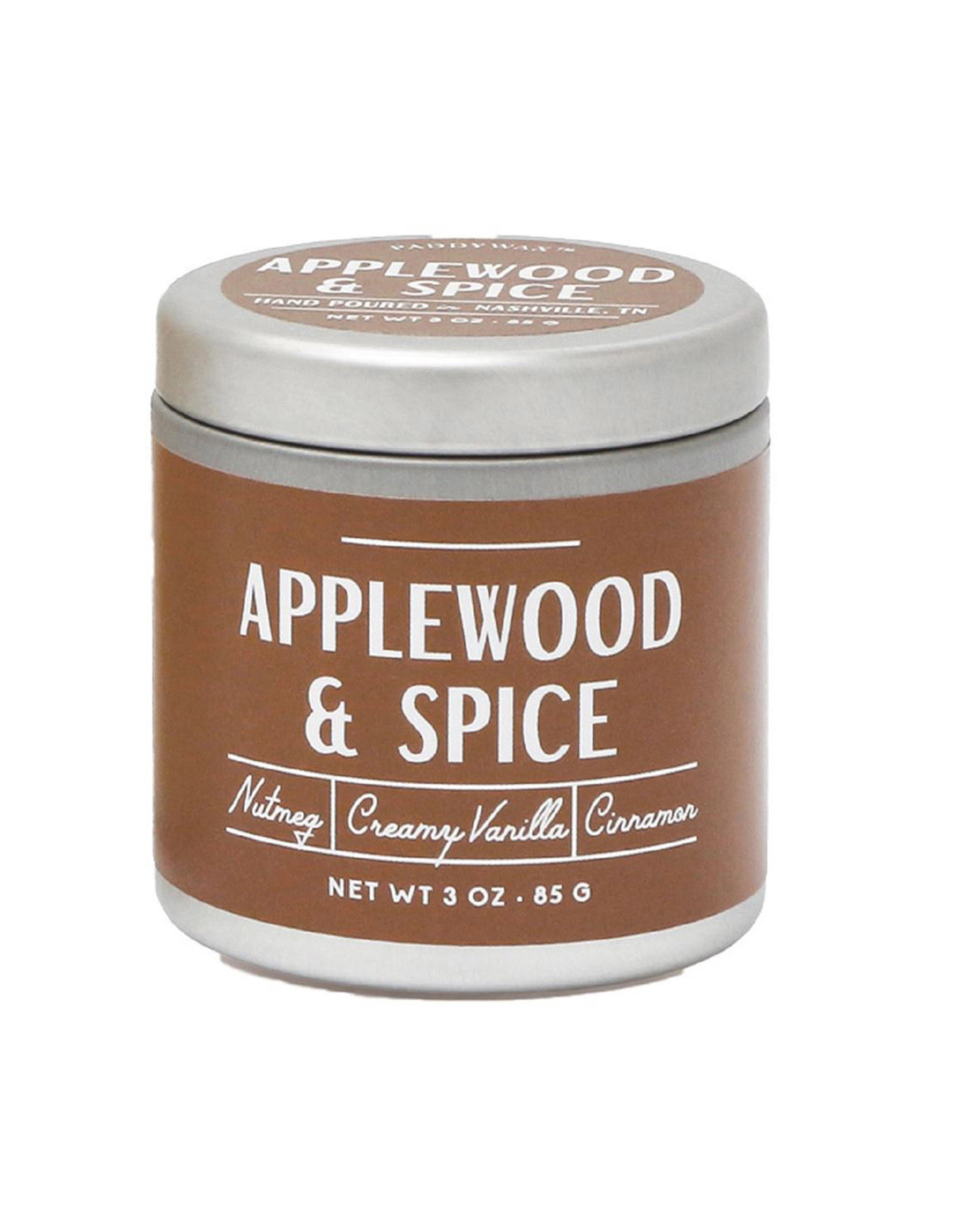 Paddywax Tin candle 3oz. - Applewood & Spice