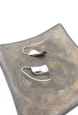Peter James Jewelry Small Curled Leaf with Centered Wire Earrings- sterling & Gold Fill