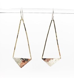 Peter James Jewelry Large Earrings - hanging quadrilateral shapes, Gold fill