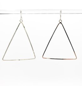 Peter James Jewelry Medium Single Drop Triangle Earrings - Sterling Silver