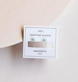 Amazonite Huggie Earrings, 18K Vermeil