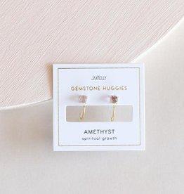 Amethyst Huggie Earrings, 18K Vermeil