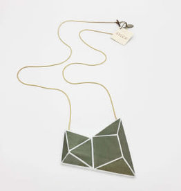 Sylca Designs Cadence, Gray Geometric Wood Necklace on Snake Chain