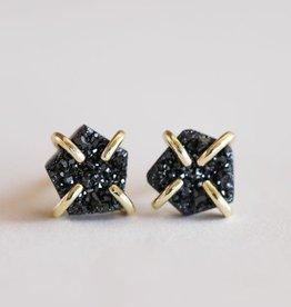 Jax Kelly Black Free-Form Druzy 18K Vermeil Prong-set Stud Earring