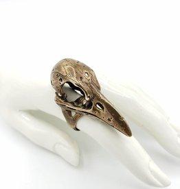 LAS Collective Crow Skull Ring 7 yellow bronze