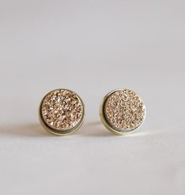 Jax Kelly Rose Gold Cluster Druzy Round Earring 14K Gold plated Bezel Stud