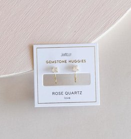 Rose Quartz Huggie Earrings, 18K Vermeil