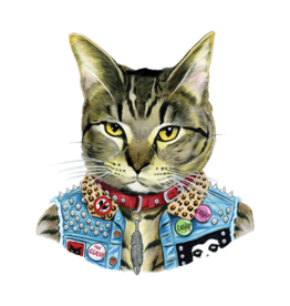 "Tattly ""Punk Cat"" by Berkley Illustration - Tattly Temporary Tattoos (Pairs)"
