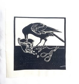 """Letting Go"" Crow with scissors canvas patch - by Abacus Corvus"
