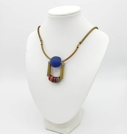 Sea Glass African Bead Necklace with 2 Bars