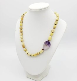 Calcite and Amethyst Necklace