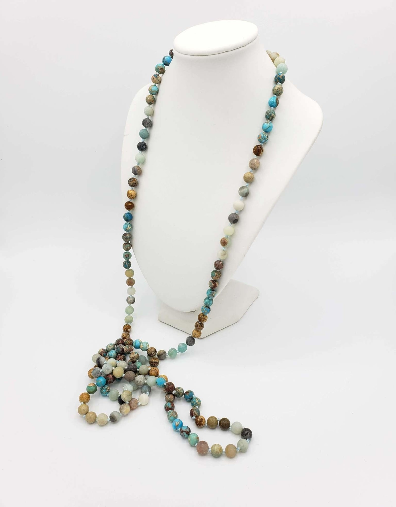 Long Aventurine + Jasper Beaded Necklace