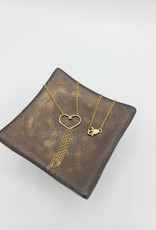 Redux Heart Necklace , square Gold fill wire with chain tassel