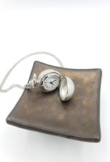 Spherical Pendant Watch Necklace, Brushed Silver tone
