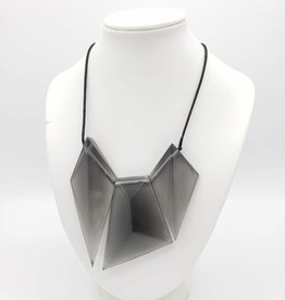 Sylca Designs Victoria Grey Necklace - Resin Geometric Asymmetrical Pendant