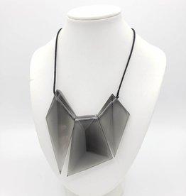 Sylca Designs Victoria Grey Necklace - Resin Geometric Asymmetrical Pendant