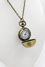 Spherical Pendant Watch Necklace, Antiqued Brass tone