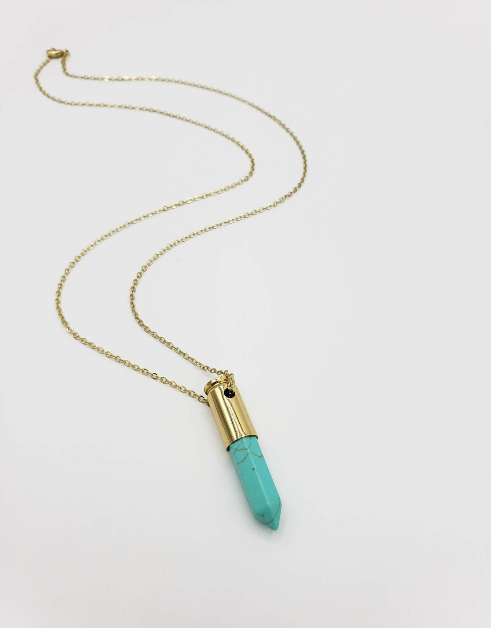 Oh, Hello Friend Blue Howlite Point Necklace, in polished bullet casing