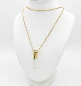 Oh, Hello Friend Quartz Crystal Point Necklace, in polished bullet casing