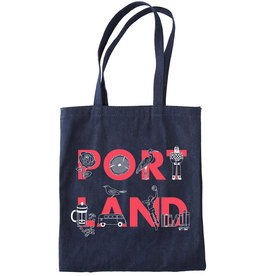 Maptote Portland Font Denim Tote Bag, Pink Ink