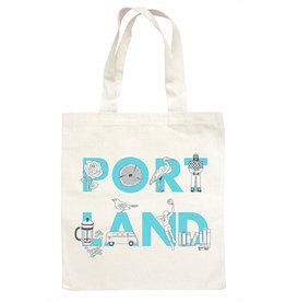 Maptote Portland Font Natural Grocery Tote Bag, Blue Ink