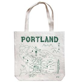 Maptote Portland Market Natural Tote Bag, Green Ink