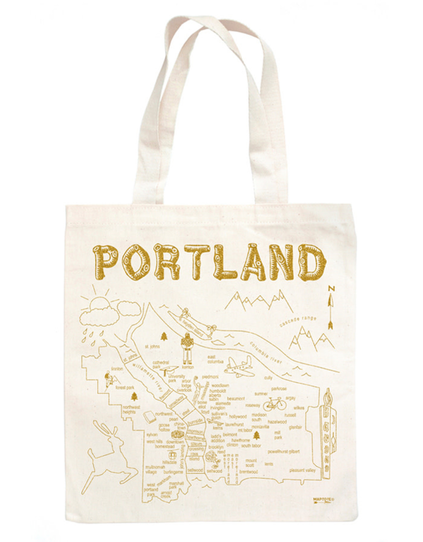 Maptote Portland Metallic gold Natural Tote Bag