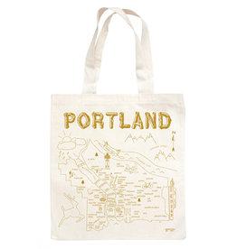 Maptote Portland  Natural Tote Bag, Metallic Gold Ink