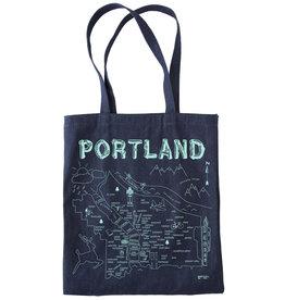 Maptote Portland Denim Tote Bag, Blue Ink