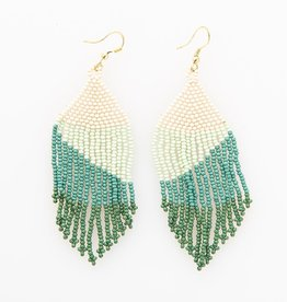 "Ink + Alloy Seed Bead Fringe Earrings, Green Ombre  4"" - INK + ALLOY"