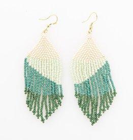 "Seed bead fringe sweep shape Earrings, turquoise ombre 4"""