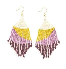 "Seed bead fringe sweep shape Earrings, lilac citron ombre  4"""