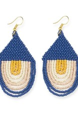 """Ink + Alloy Seed Bead Sunset Earring  Draped 3"""" Lapis"""