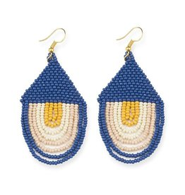 "Ink + Alloy Seed Bead Sunset Earring  Draped 3"" Lapis"