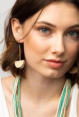 """Ink + Alloy Half Circle White Wood And Brass Earring  2.75"""""""