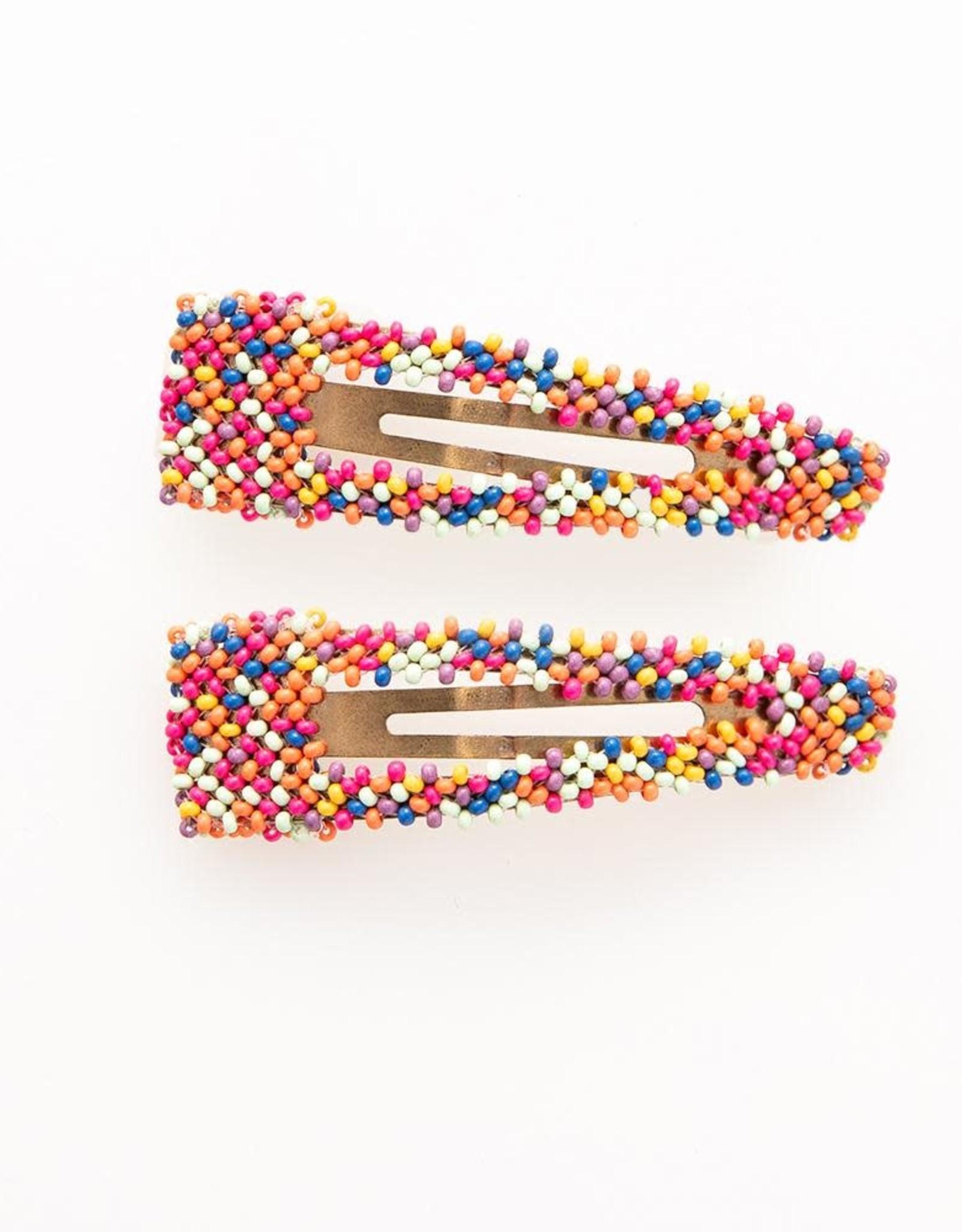 """Ink + Alloy Confetti Hair Clip, small open center clip 1"""" X 3.5"""""""