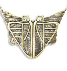 Ornamental Things Deco Moth Antiqued Brass Necklace