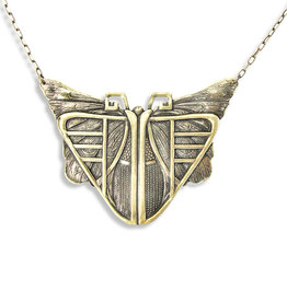 Ornamental Things Antiqued Brass Deco Moth Necklace - Ornamental Things