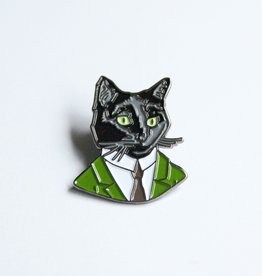 ''Well Suited Black Cat'' Animal Portrait Enamel Pin - Ryan Berkley