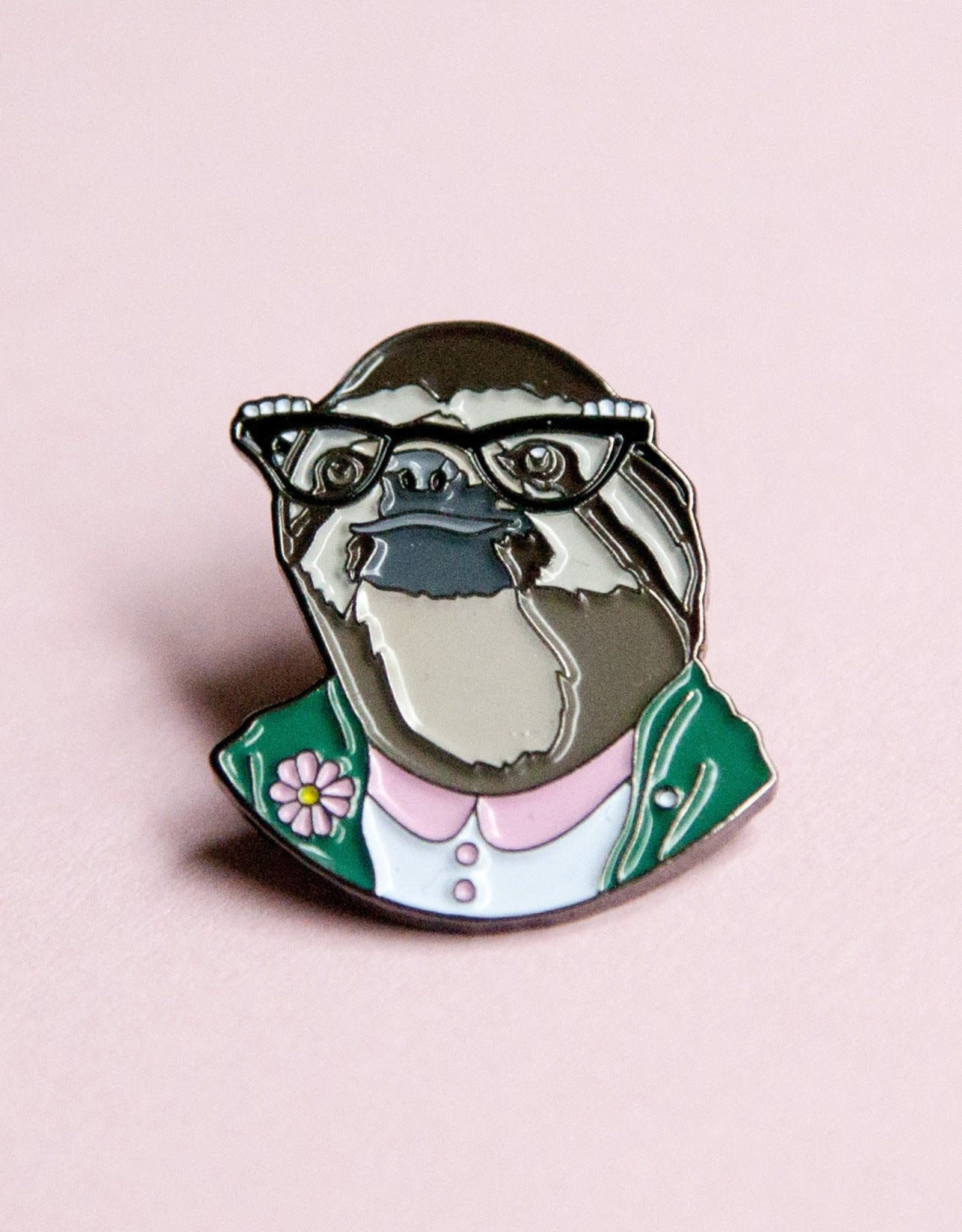 Berkley Illustration ''Sloth lady'' Animal Portrait Enamel Pin - Ryan Berkley