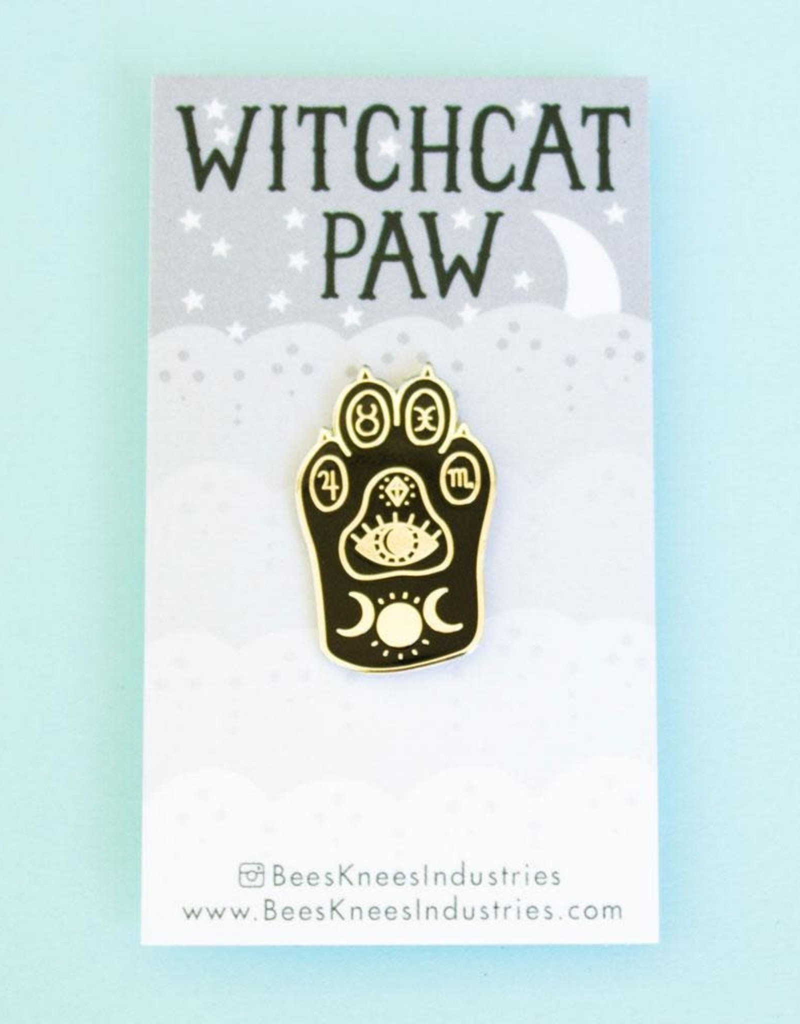 Bee's Knees Industries ''Witchcat paw'' Cat Paw Enamel Pin - Bee's Knees
