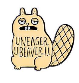 ''Uneager Beaver'' Enamel Pin by Gemma Correll