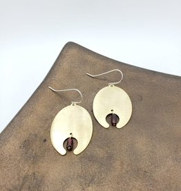 Amaree and Reese Lasercut Brass with Garnet Earrings