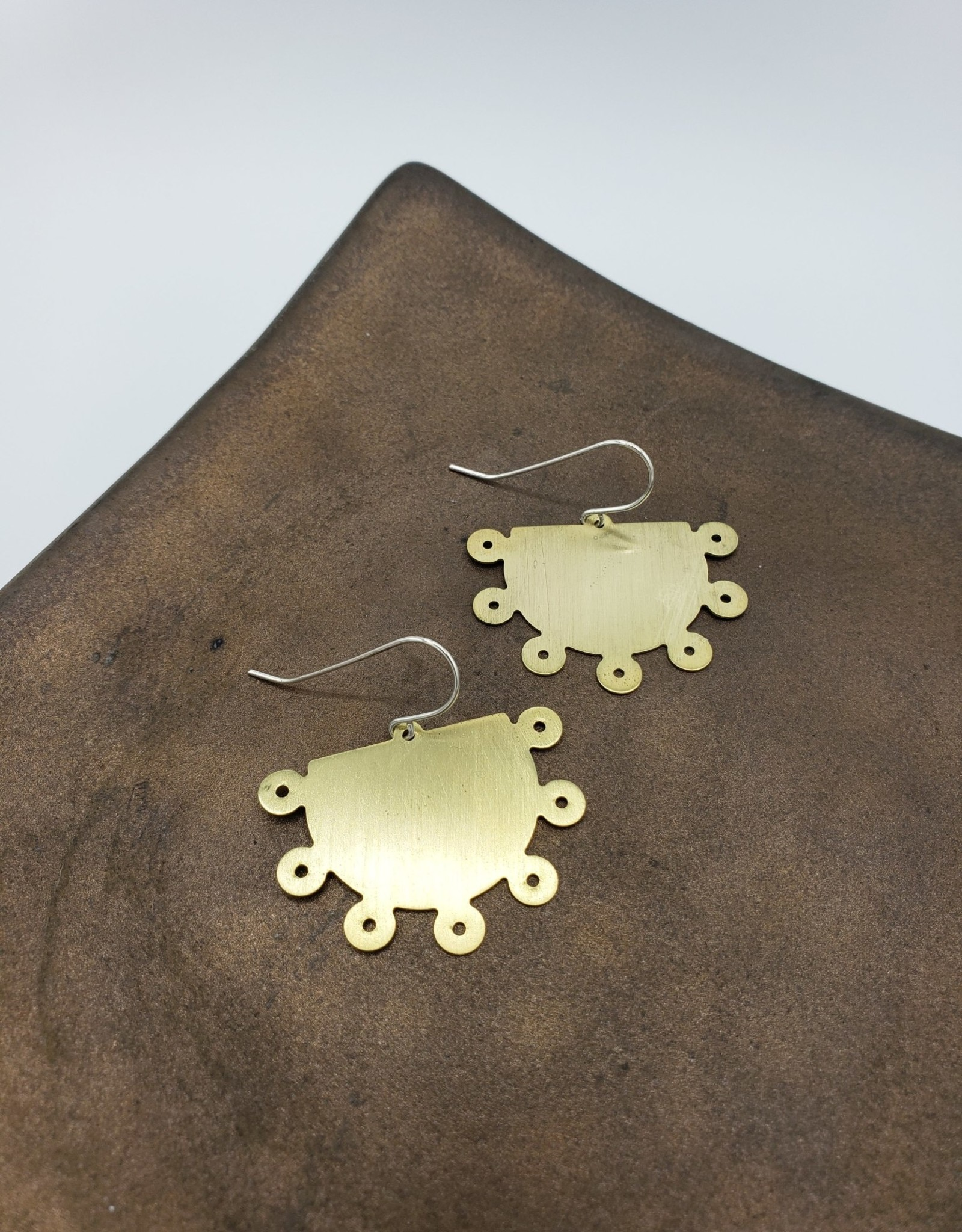 Amaree and Reese Dotted Edge Half Circle Earrings Lasercut Brass